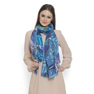 Accessories - Blue and Purple 100% Cotton Scarf (70x39 Inches)
